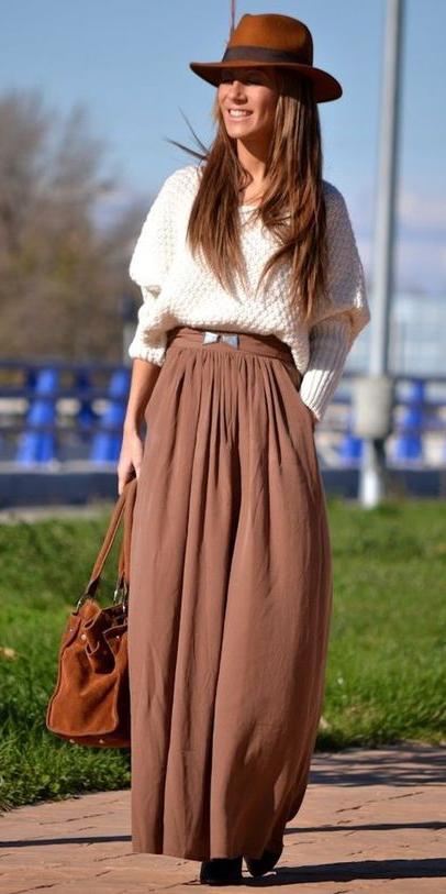 white-sweater-hairr-hat-cognac-bag-camel-maxi-skirt-fall-winter-lunch.jpg