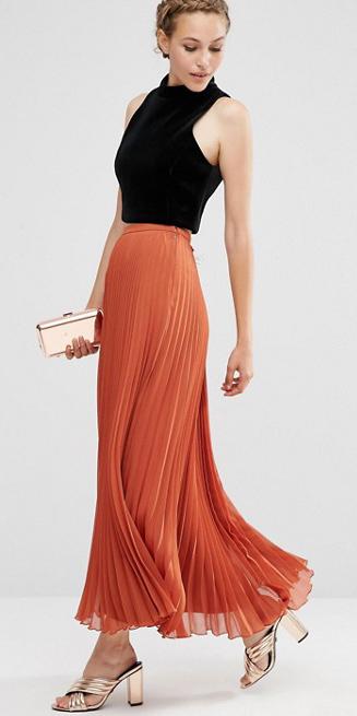 black-crop-top-braid-blonde-tan-bag-clutch-gold-tan-shoe-sandalh-orange-maxi-skirt-spring-summer-dinner.jpg
