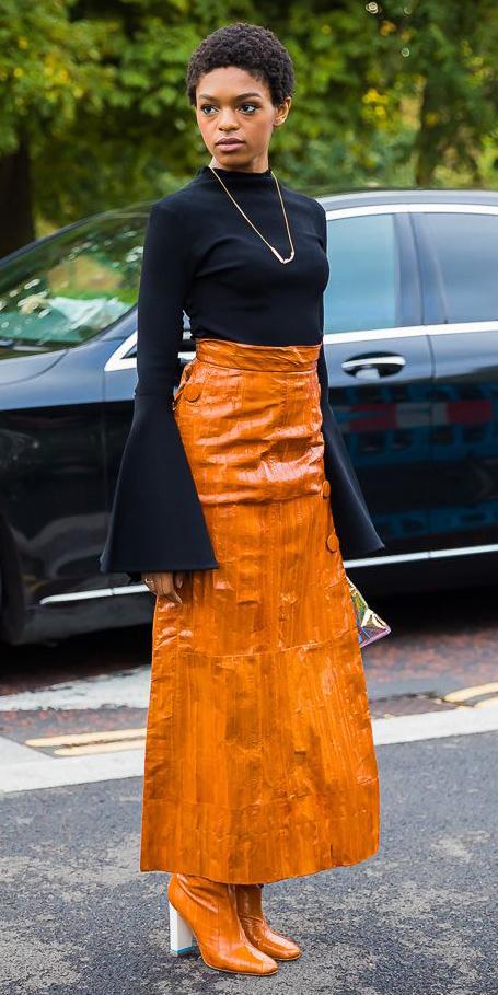 black-top-bellsleeve-brun-necklace-cognac-shoe-boots-orange-maxi-skirt-fall-winter-dinner.jpg