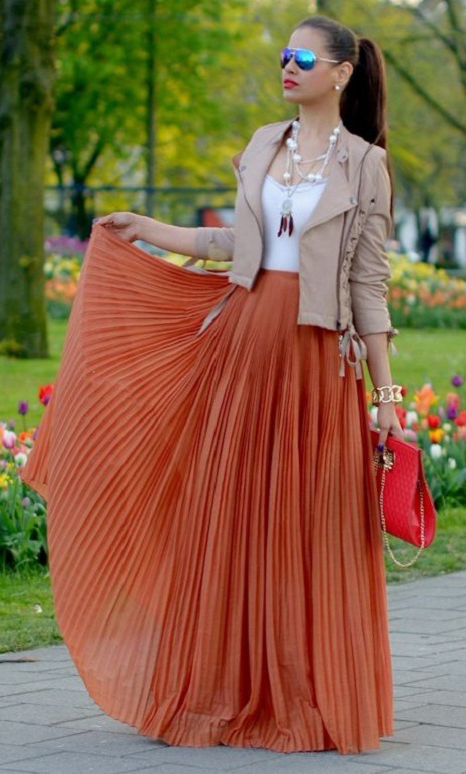 white-tank-pleat-sun-hairr-pony-pearl-necklace-red-bag-clutch-orange-maxi-skirt-spring-summer-lunch.jpg