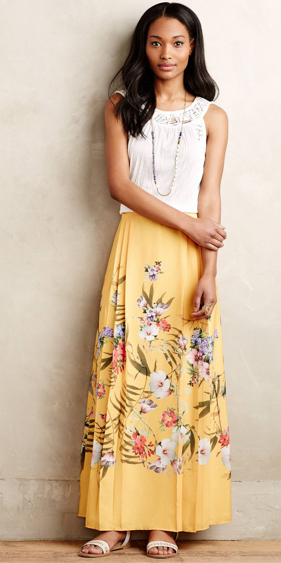 white-top-brun-floral-print-necklace-white-shoe-sandals-yellow-maxi-skirt-spring-summer-lunch.jpeg