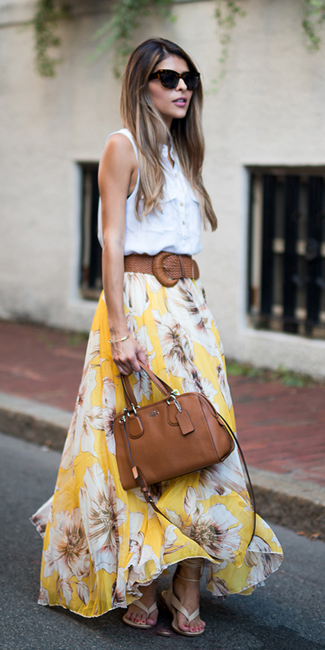white-top-blouse-cognac-bag-wide-belt-sun-blonde-floral-print-yellow-maxi-skirt-spring-summer-lunch.jpg