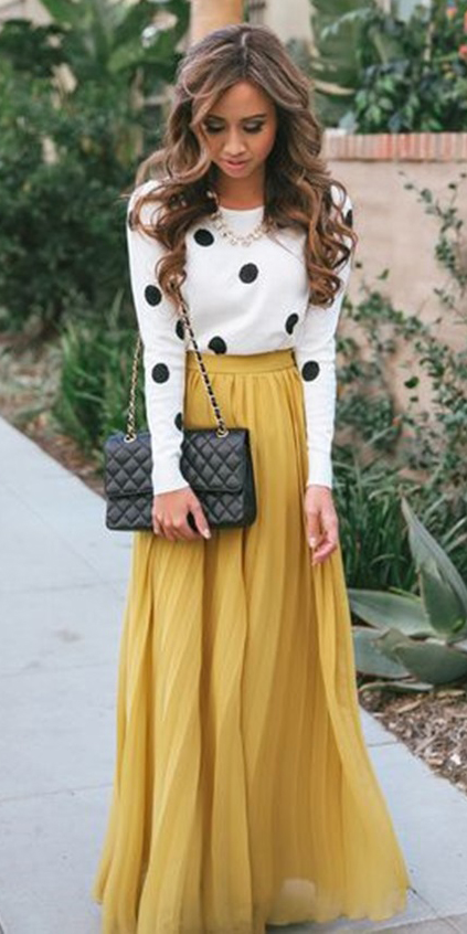 white-top-dot-print-necklace-hairr-black-bag-howtowear-fashion-yellow-maxi-skirt-fall-winter-dinner.jpg