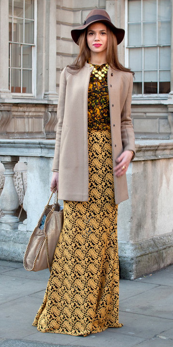 yellow-maxi-skirt-print-yellow-top-blouse-bib-necklace-tan-bag-hat-tan-jacket-coat-fall-winter-hairr-lunch.jpg