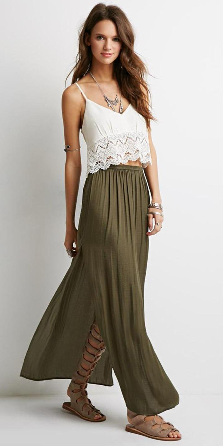 white-cami-necklace-tan-shoe-sandals-gladiators-hairr-green-olive-maxi-skirt-spring-summer-weekend.jpg