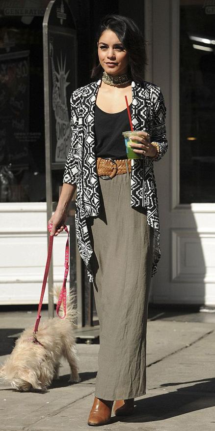green-olive-maxi-skirt-belt-black-tee-belt-cognac-shoe-booties-choker-vanessahudgens-black-cardiganl-print-fall-winter-brun-lunch.jpg