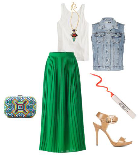 green-emerald-maxi-skirt-white-top-tank-blue-light-vest-jean-necklace-pend-tan-shoe-sandalh-blue-bag-clutch-pleat-howtowear-fashion-style-outfit-spring-summer-dinner.JPG