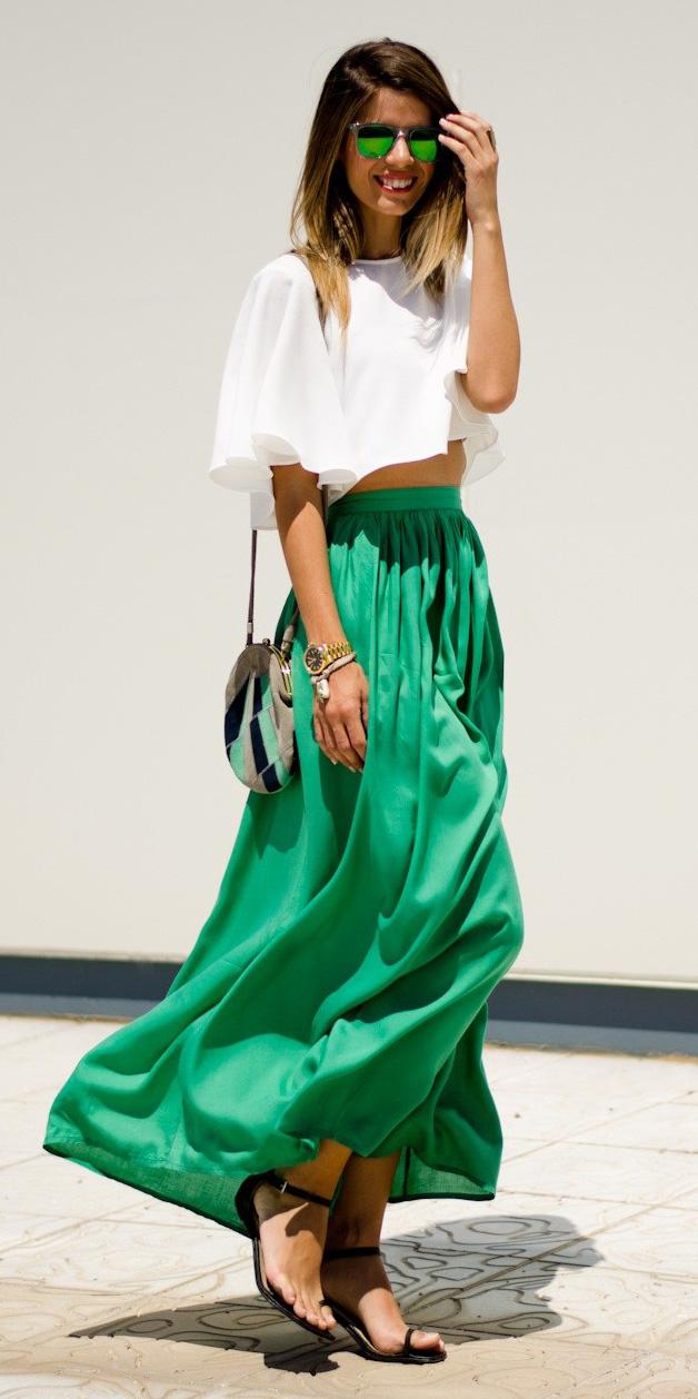 white-crop-top-sun-black-shoe-sandals-hairr-green-emerald-maxi-skirt-spring-summer-lunch.jpg
