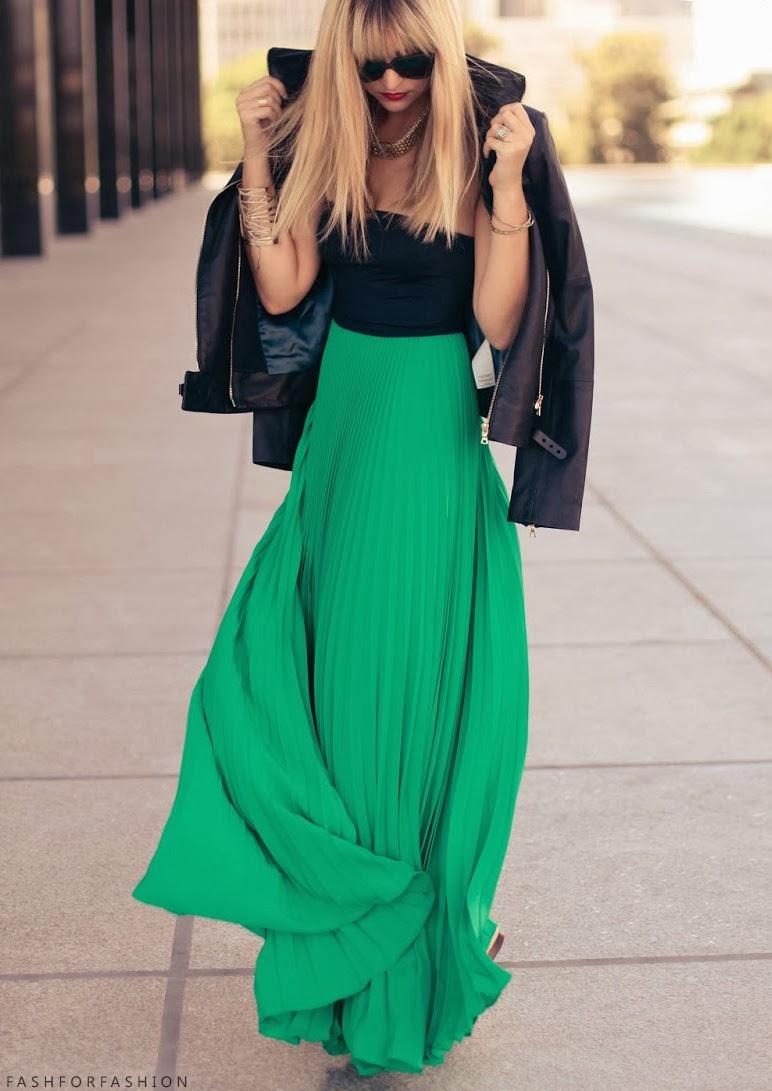 black-top-bustier-tubetop-necklace-blonde-black-jacket-moto-green-emerald-maxi-skirt-spring-summer-dinner.jpg