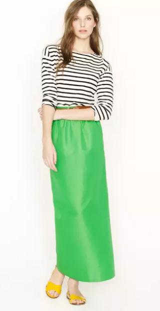 green-emerald-maxi-skirt-black-tee-stripe-hairr-yellow-shoe-sandals-jcrew-spring-summer-weekend.jpg
