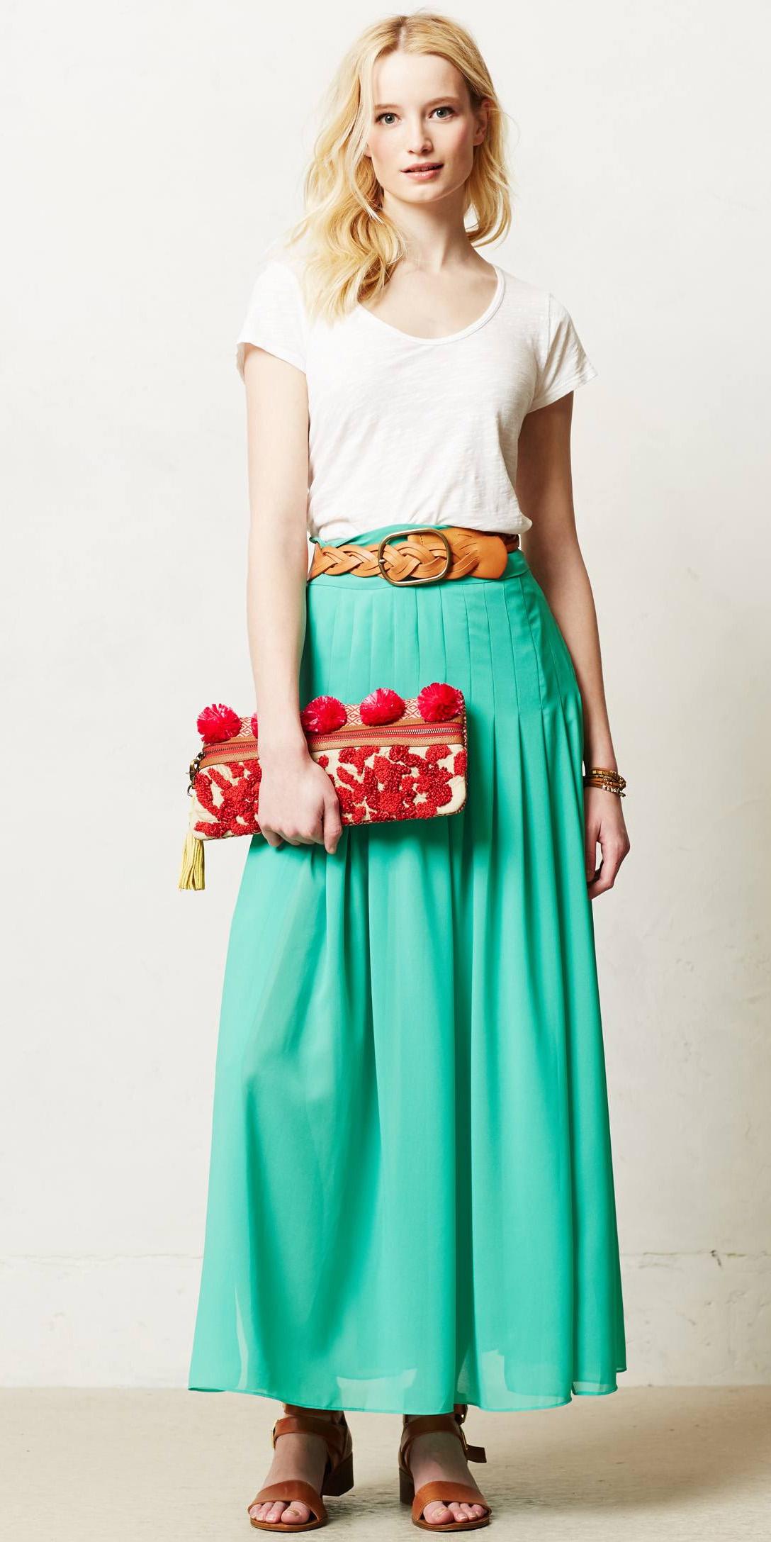 white-tee-blonde-red-bag-clutch-cognac-shoe-sandals-belt-green-emerald-maxi-skirt-spring-summer-lunch.jpeg