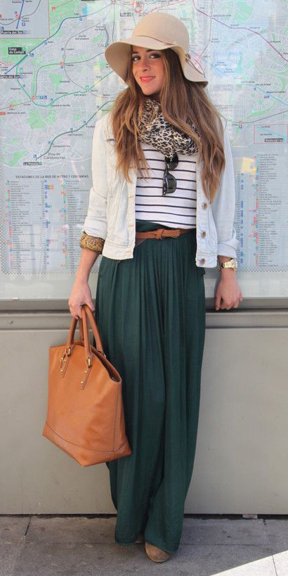 white-tee-stripe-hat-tan-scarf-leopard-print-cognac-bag-tote-white-jacket-jean-hairr-green-dark-maxi-skirt-fall-winter-lunch.jpg