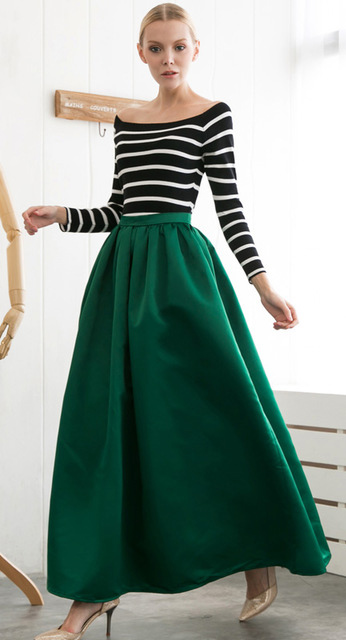 black-top-stripe-blonde-tan-shoe-pumps-green-dark-maxi-skirt-fall-winter-dinner.jpg