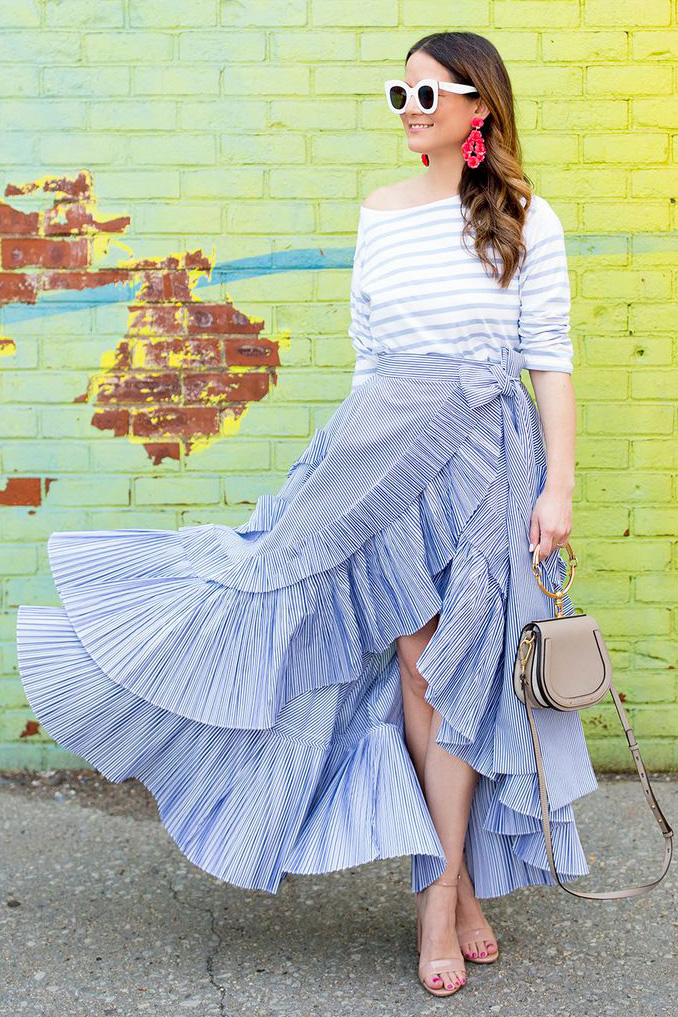 white-tee-hairr-sun-tan-bag-tan-shoe-sandalh-ruffle-wrap-earrings-blue-light-maxi-skirt-spring-summer-lunch.jpg