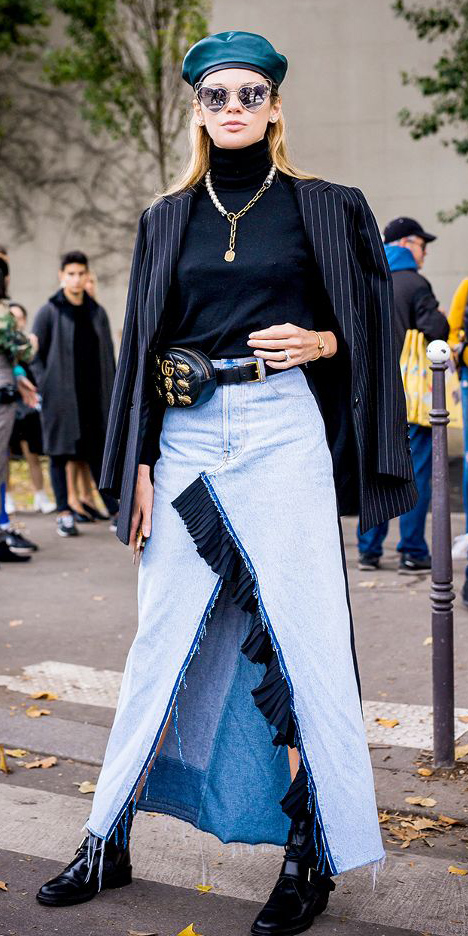 blue-light-maxi-skirt-denim-black-sweater-turtleneck-black-bag-fannypack-necklace-hat-beret-sun-blonde-black-jacket-blazer-black-shoe-booties-fall-winter-lunch.jpg