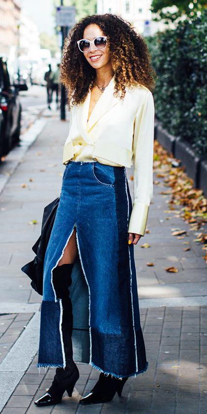 yellow-top-blouse-sun-brun-denim-black-shoe-boots-otk-slit-blue-med-maxi-skirt-fall-winter-lunch.jpg
