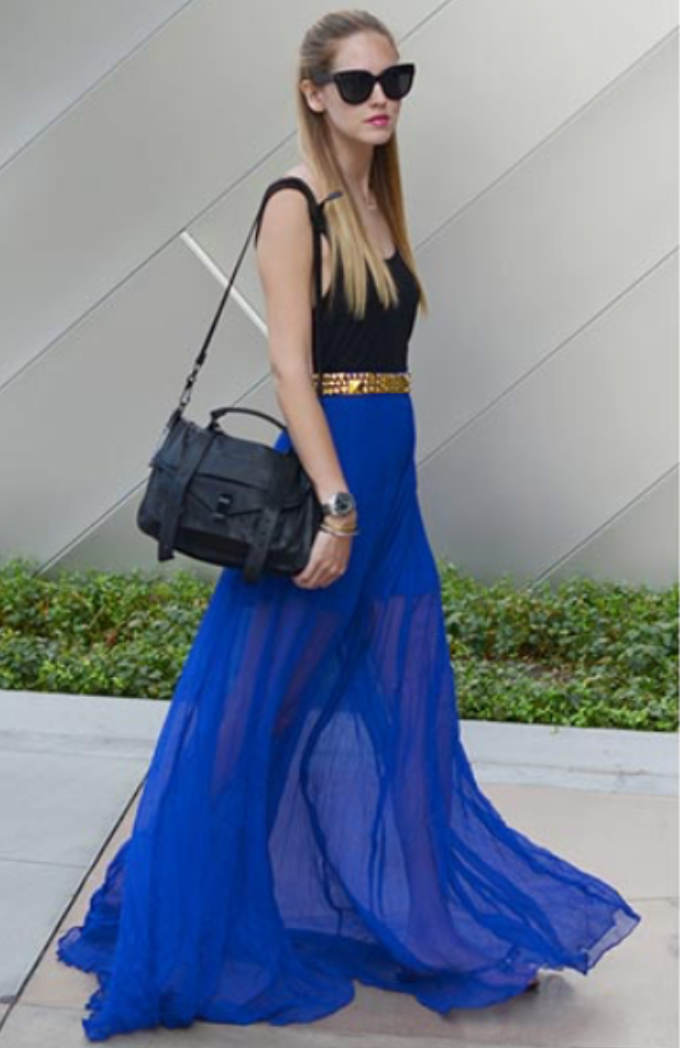 blue-navy-maxi-skirt-black-top-tank-tan-belt-black-bag-sun-wear-style-fashion-spring-summer-cobalt-blonde-lunch.jpg