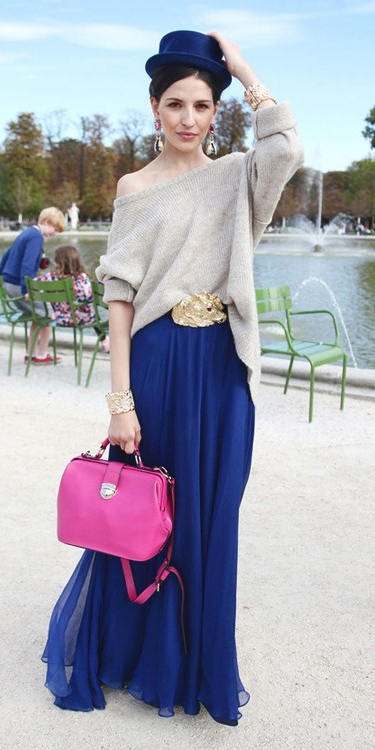 hat-brun-earrings-pink-bag-tan-sweater-blue-navy-maxi-skirt-fall-winter-lunch.jpg