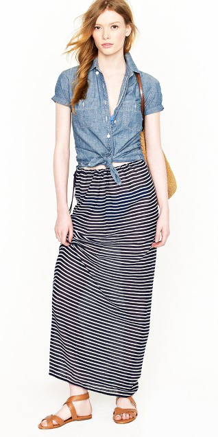 blue-navy-maxi-skirt-stripe-blue-med-collared-shirt-cognac-shoe-sandals-hairr-spring-summer-straw-bag-weekend.jpg