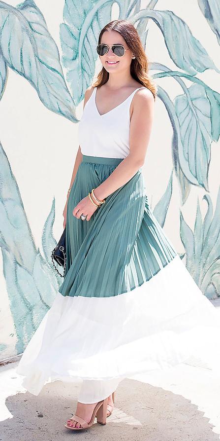 white-maxi-skirt-pleated-sun-tan-shoe-sandalh-green-olive-maxi-skirt-colorblock-white-cami-spring-summer-hairr-lunch.jpg