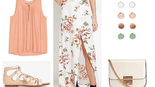 peach-top-white-shoe-sandals-white-bag-studs-floral-print-white-maxi-skirt-spring-summer-lunch.jpg