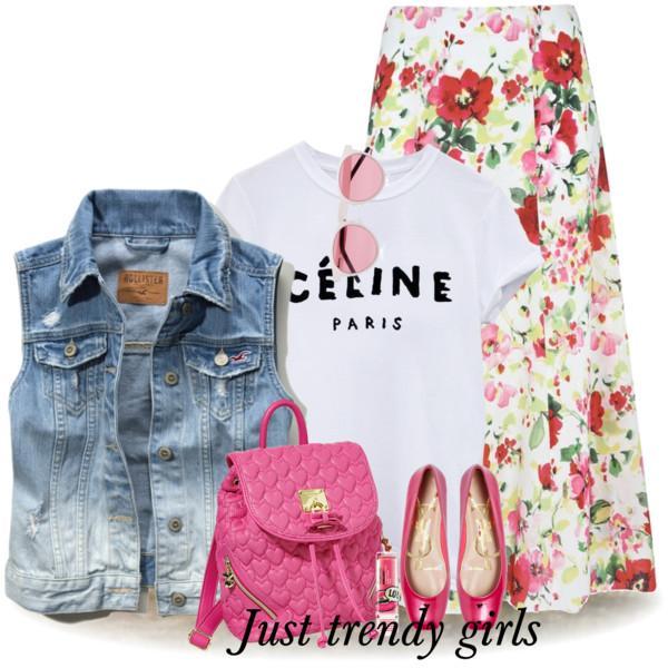 blue-light-vest-jean-sun-pink-bag-pack-magenta-shoe-flats-white-graphic-tee-floral-print-white-maxi-skirt-spring-summer-lunch.jpg