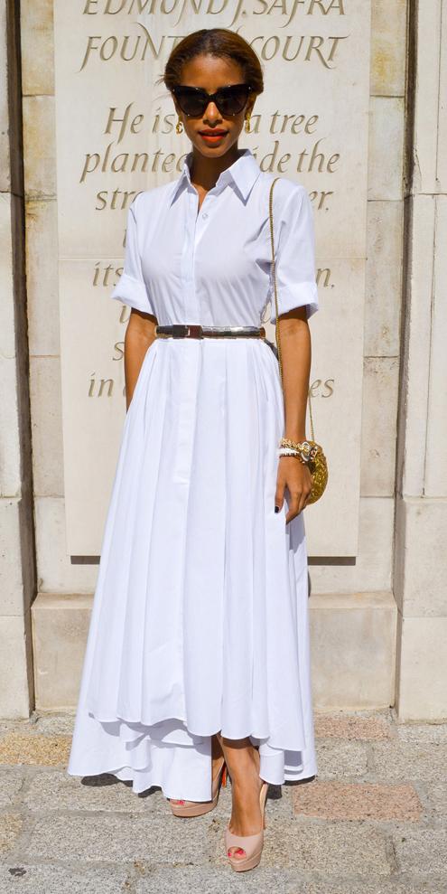 white-collared-shirt-skinny-belt-brun-bun-sun-tan-shoe-sandalh-white-maxi-skirt-spring-summer-dinner.jpg