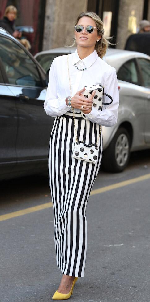white-maxi-skirt-vertical-stripe-print-white-collared-shirt-blonde-white-bag-dot-yellow-shoe-pumps-spring-summer-dinner.jpg