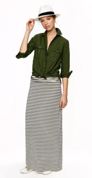 white-maxi-skirt-stripe-green-olive-collared-shirt-hat-panama-spring-summer-weekend.jpg