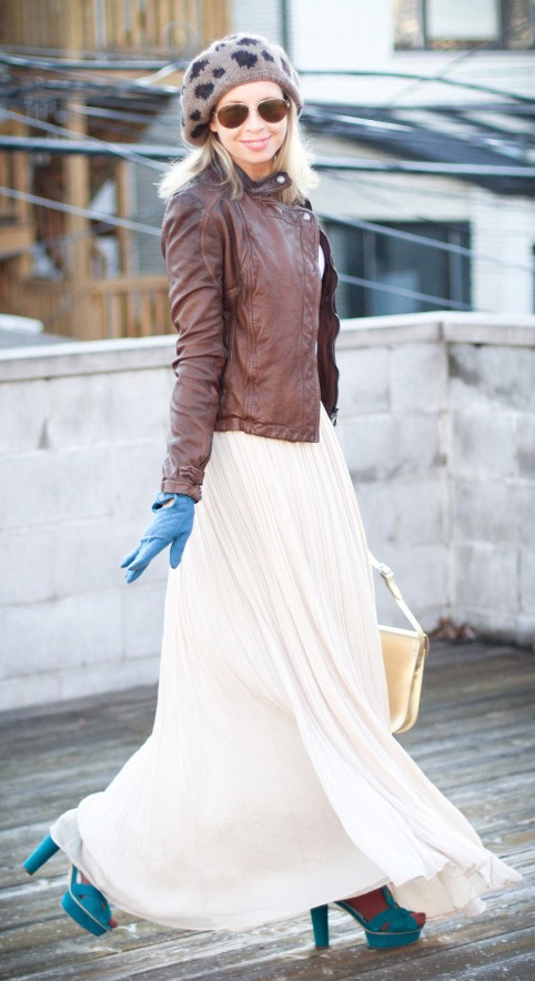 brown-jacket-moto-blonde-beanie-sun-gloves-white-bag-brown-tights-blue-shoe-sandalh-white-maxi-skirt-fall-winter-lunch.jpg