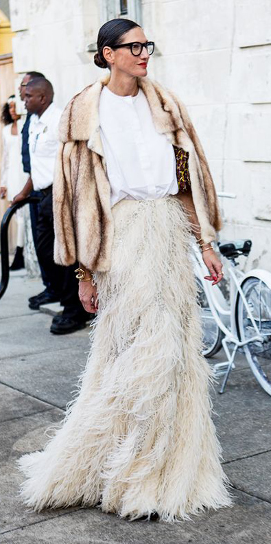 white-top-blouse-bun-hairr-jcrew-fringe-tan-jacket-fur-white-maxi-skirt-fall-winter-dinner.jpg