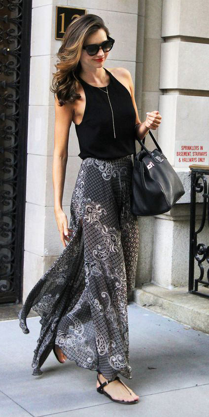 grayl-maxi-skirt-black-top-tank-wear-style-fashion-spring-summer-black-bag-sun-print-mirandakerr-newyork-black-shoe-sandals-hairr-classic-lunch.jpg