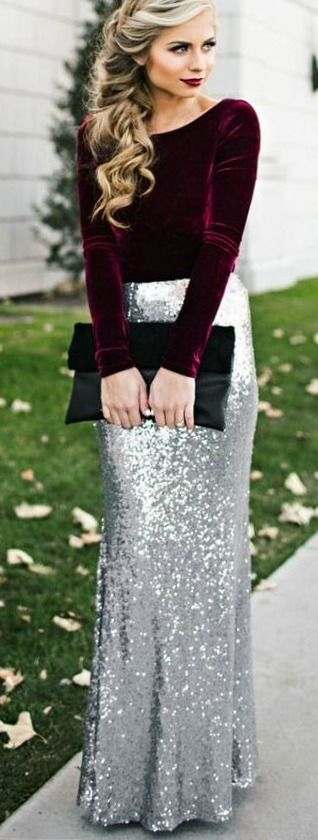 what-to-wear-for-a-winter-wedding-guest-outfit-grayl-maxi-skirt-sequin-silver-burgundy-top-velvet-blonde-dinner.jpg