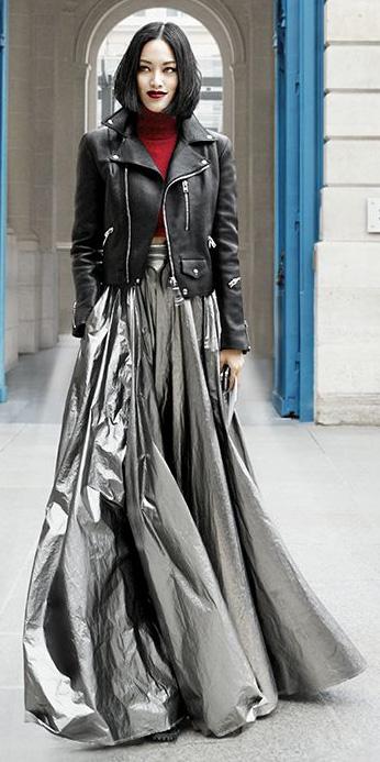 grayl-maxi-skirt-red-sweater-turtleneck-black-jacket-moto-bob-shiny-fall-winter-brun-dinner.jpg