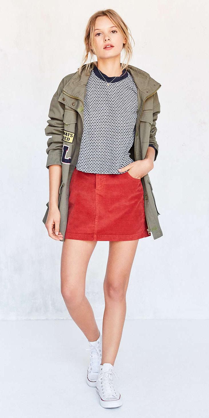 red-mini-skirt-blue-navy-tee-stripe-green-olive-jacket-utility-bun-wear-style-fashion-spring-summer-white-shoe-sneakers-blonde-weekend.jpg