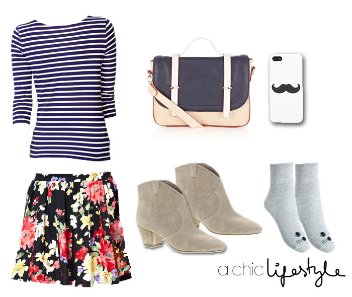 red-mini-skirt-stripes-blue-navy-tee-stripe-tan-shoe-booties-socks-white-bag-floral-print-clash-howtowear-fashion-style-outfit-spring-summer-lunch.jpg