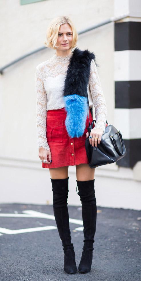 red-mini-skirt-white-blouse-blonde-bob-black-bag-black-shoe-boots-otk-black-scarf-fur-stole-fall-winter-lunch.jpg