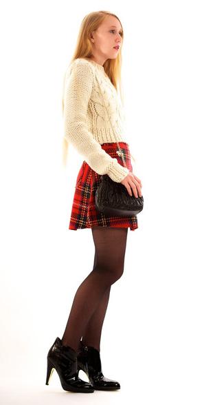 red-mini-skirt-white-sweater-plaid-print-black-tights-black-shoe-booties-black-bag-fall-winter-dinner.jpg
