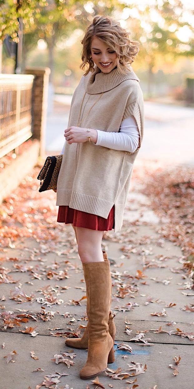 red-mini-skirt-layer-tan-sweater-sleeveless-blonde-cognac-shoe-boots-fall-winter-lunch.JPG