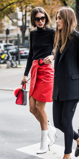 red-mini-skirt-black-sweater-turtleneck-sun-red-bag-white-shoe-booties-wrap-fall-winter-hairr-lunch.jpg