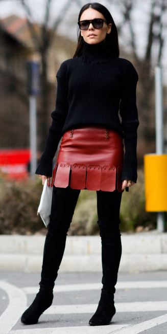 red-mini-skirt-leather-black-sweater-turtleneck-black-shoe-boots-black-tights-fall-winter-brun-work.jpg