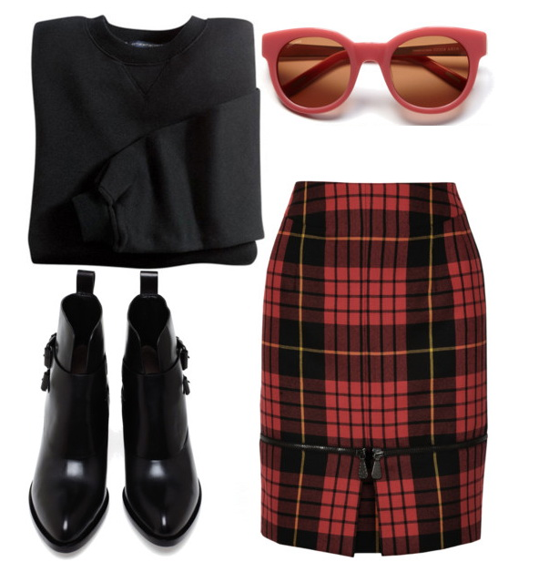 red-mini-skirt-plaid-print-black-sweater-sweatshirt-black-shoe-booties-sun-howtowear-fashion-style-outfit-spring-summer-lunch.jpg