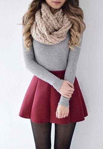 red-mini-skirt-grayl-sweater-tan-scarf-fashion-style-outfit-fall-winter-sweater-skater-black-tights-hairr-lunch.jpg