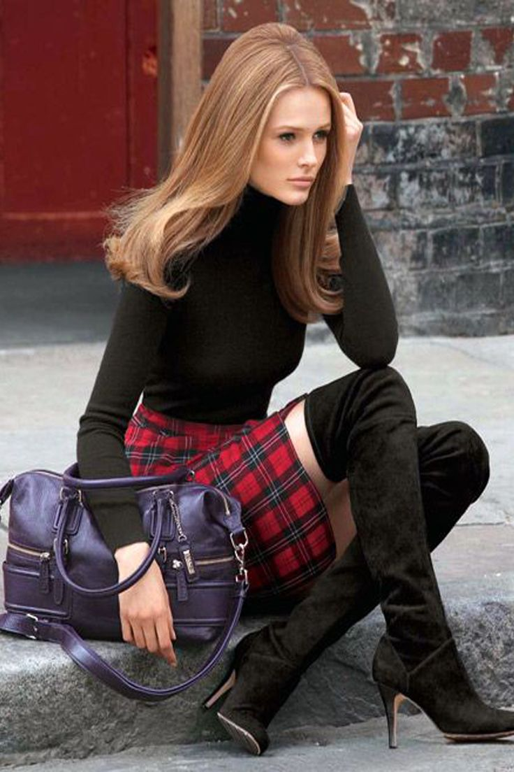 red-mini-skirt-black-sweater-turtleneck-purple-bag-wear-style-fashion-fall-winter-plaid-overtheknee-black-shoe-boots-hairr-lunch.jpg
