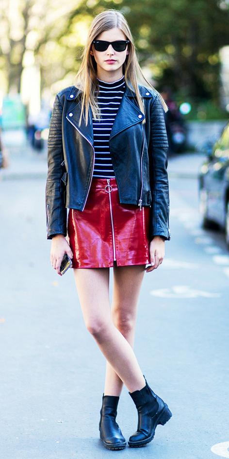 red-mini-skirt-black-tee-stripe-sun-black-shoe-booties-black-jacket-moto-spring-summer-blonde-lunch.jpg