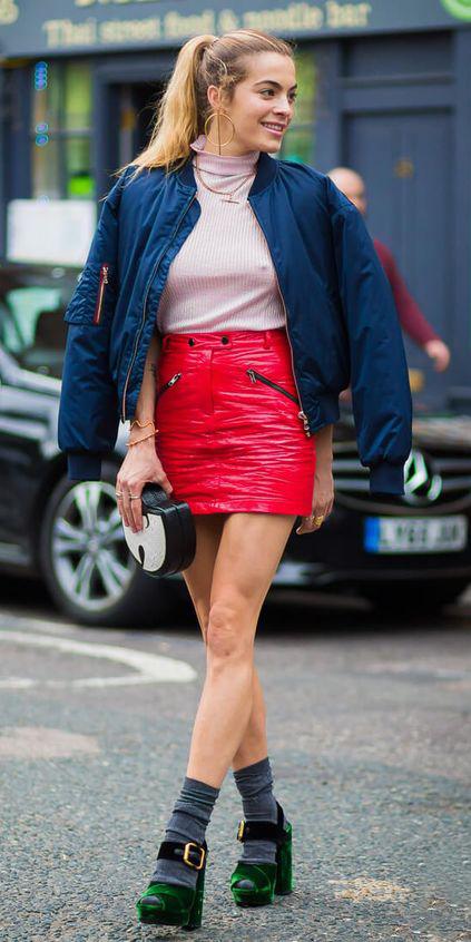 red-mini-skirt-pink-light-top-pony-blonde-hoops-socks-green-shoe-sandalh-blue-navy-jacket-bomber-fall-winter-lunch.jpg