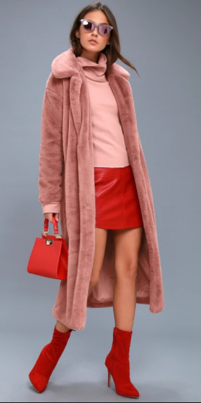 red-mini-skirt-pink-light-sweater-turtleneck-red-bag-hairr-pink-light-jacket-coat-fur-red-shoe-booties-sun-fall-winter-lunch.jpg