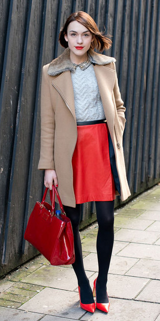 red-mini-skirt-red-bag-red-shoe-pumps-black-tights-white-sweater-tan-jacket-coat-fall-winter-hairr-lunch.jpg