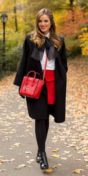 red-mini-skirt-white-collared-shirt-bow-red-bag-black-jacket-coat-black-tights-black-shoe-booties-fall-winter-hairr-dinner.jpg