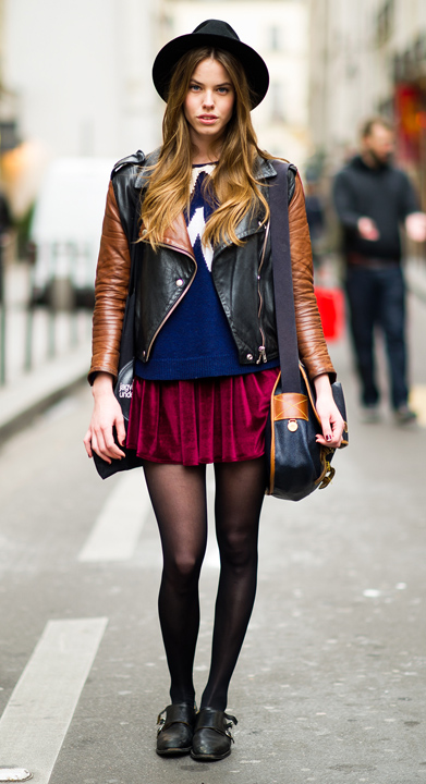 red-mini-skirt-blue-navy-sweater-cobalt-black-bag-black-shoe-brogues-wear-style-fashion-fall-winter-black-jacket-moto-black-tights-hat-hairr-lunch.jpg